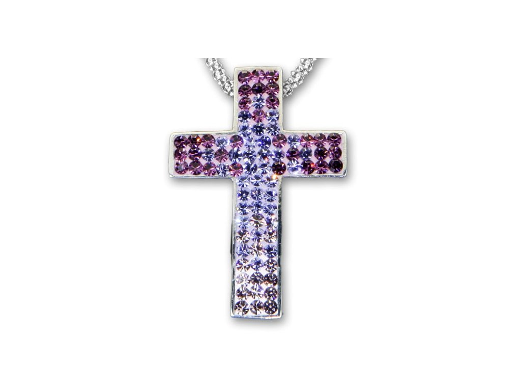 Swarovski Elements Přívěsek na krk křížek s řetízkem - cross parts 29mm / mix crystal+amethyst+tanzanit+light amethyst