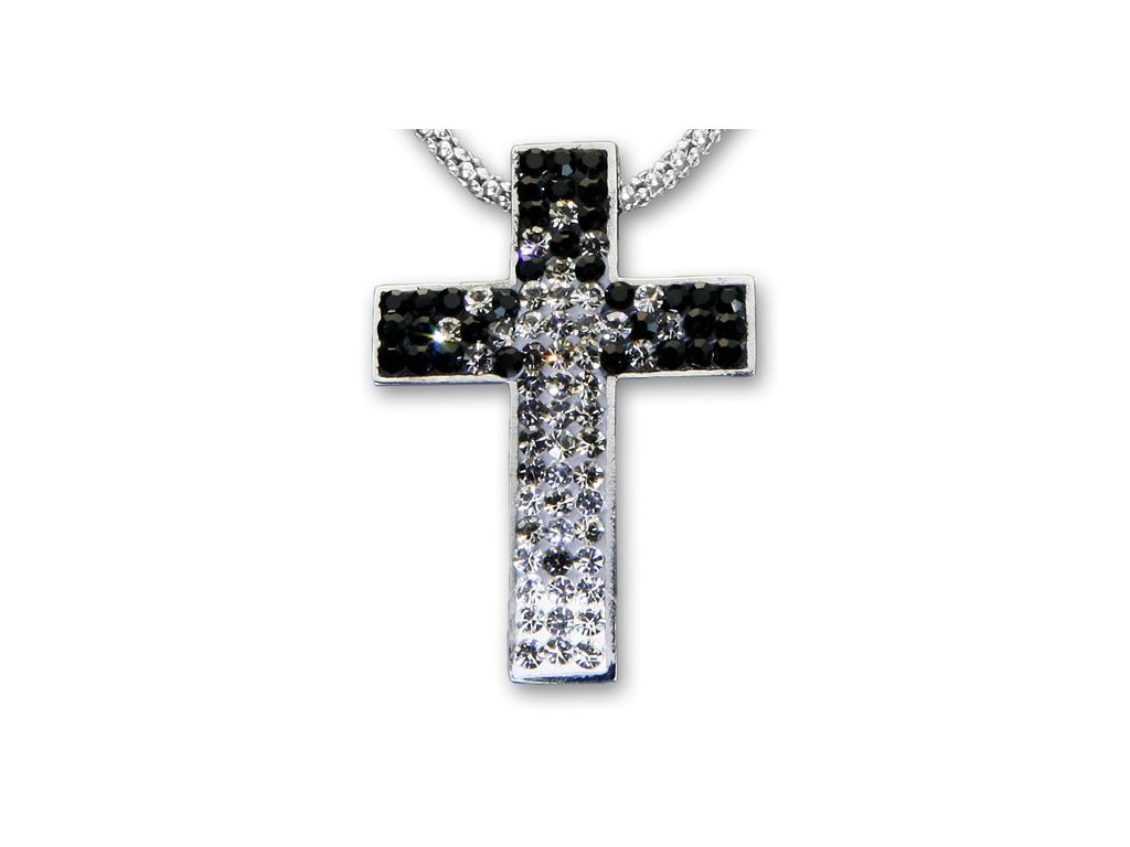 Swarovski Elements Přívěsek na krk křížek s řetízkem - cross parts 29mm / mix crystal+jet+black diamonds