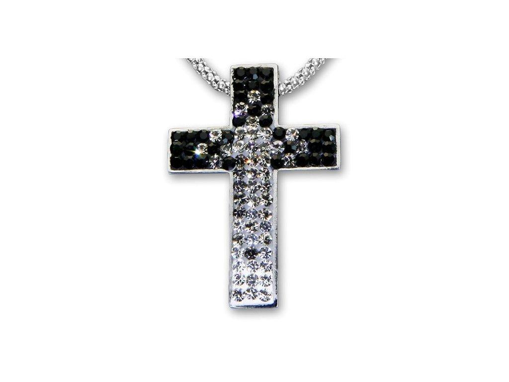 Swarovski Elements Přívěsek na krk křížek s řetízkem - cross parts 29mm / mix crystal+jet+black diamonds