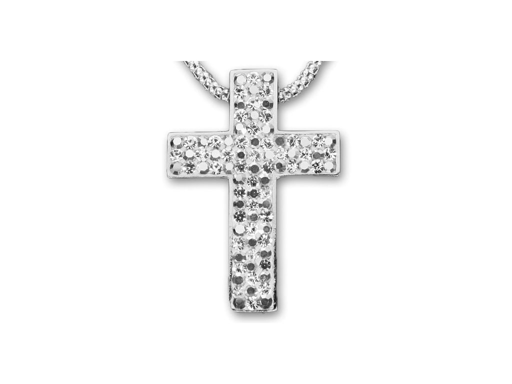 Swarovski Elements Přívěsek na krk křížek s řetízkem - cross parts 29mm / mix crystal shadow