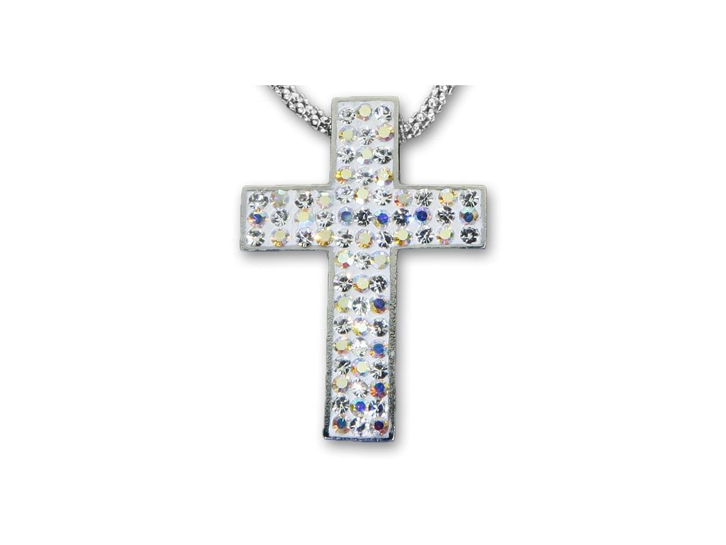 Swarovski Elements Přívěsek na krk křížek s řetízkem - cross parts 29mm / crystal ab