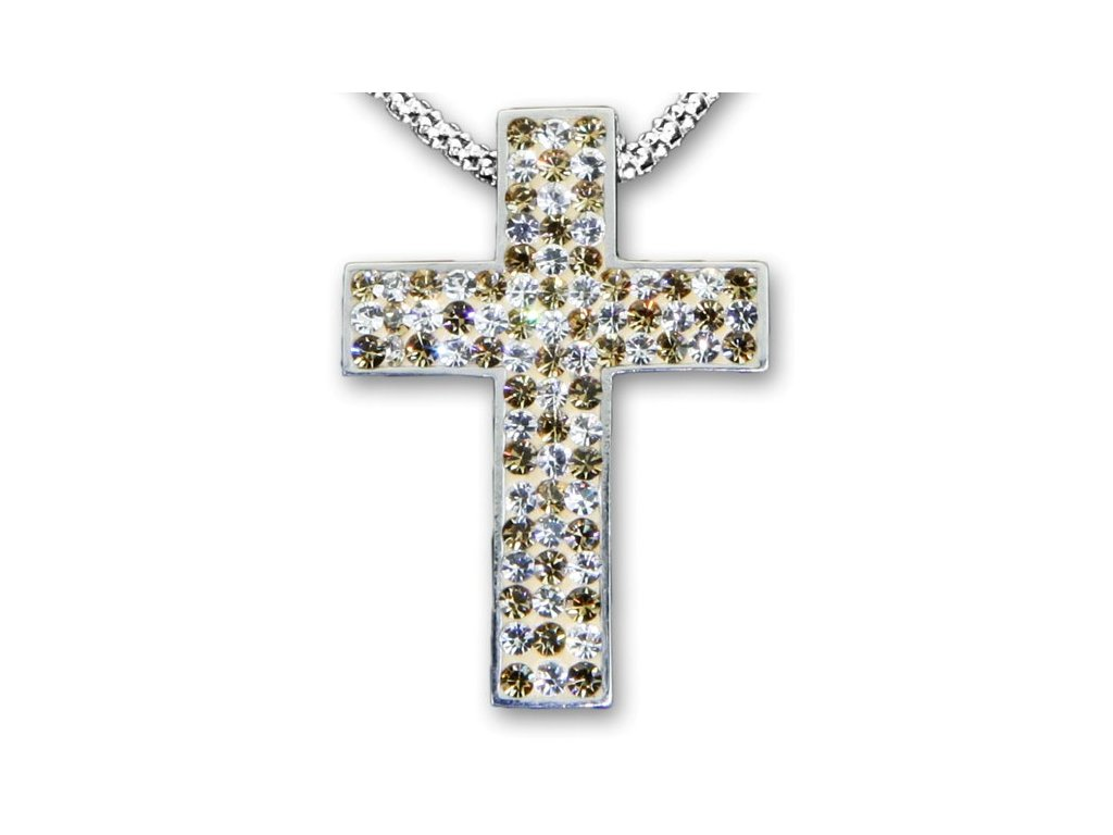 Swarovski Elements Přívěsek na krk křížek s řetízkem - cross parts 29mm / mix crystal+golden shadow