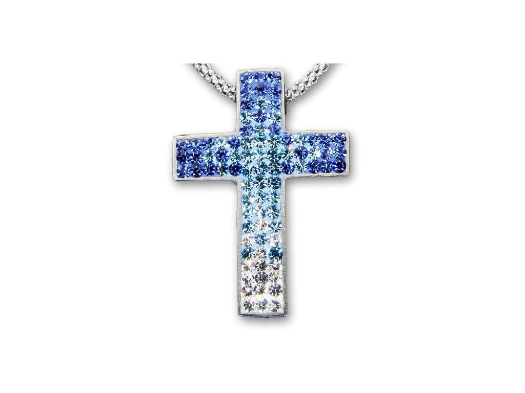 Swarovski Elements Přívěsek na krk křížek s řetízkem- cross parts 29mm / mix crystal+aquamarine+sapphire