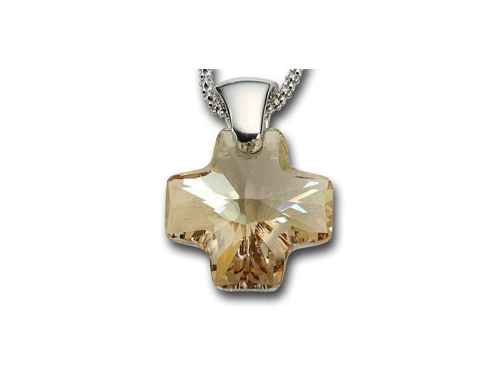 Swarovski Elements Přívěsek na krk - křížek 20mm / crystal golden shadow