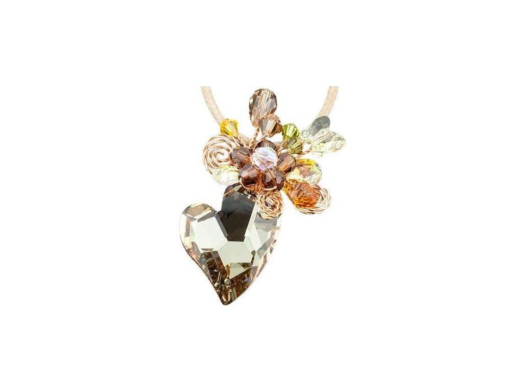 Swarovski Elements Přívěsek na krk srdce 27mm na bavlněné šňůrce / golden shadow+mix colors