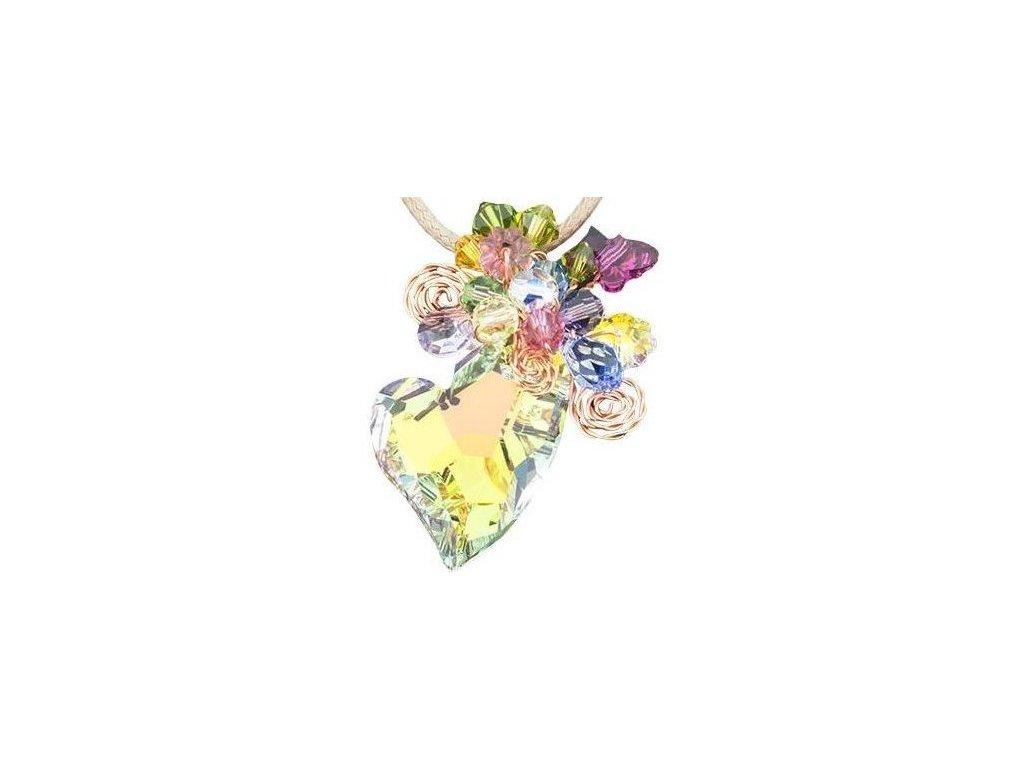 Swarovski Elements Přívěsek na krk srdce 27mm na bavlněné šňůrce / crystal ab+mix colors