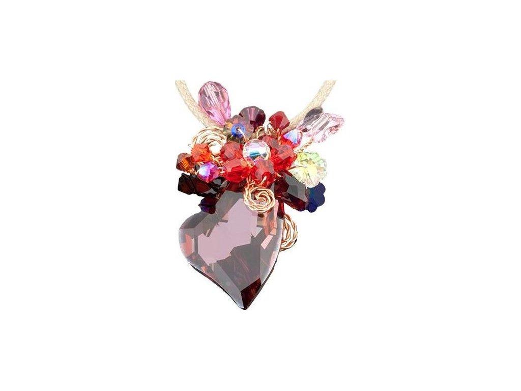 Swarovski Elements Přívěsek na krk srdce 27mm na bavlněné šňůrce / siam ab+mix colors