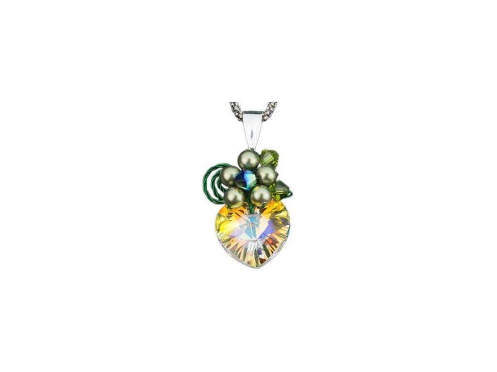Swarovski Elements Přívěsek na krk s řetízkem - srdce 14mm / crystal ab+peridot