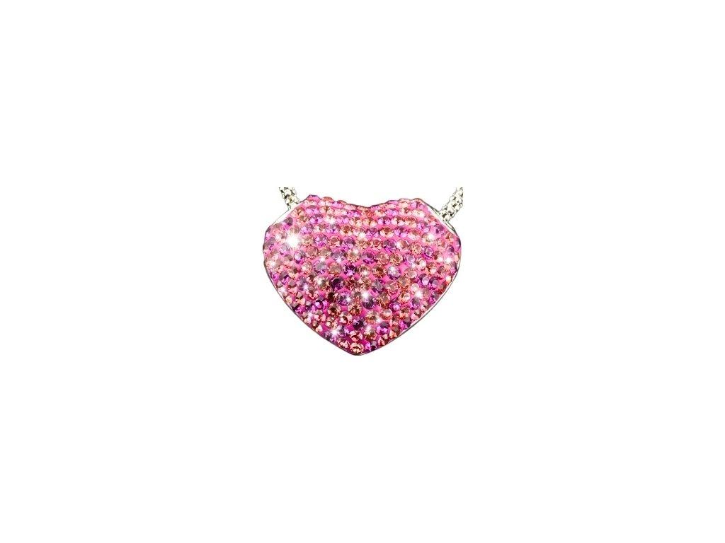 Swarovski Elements Přívěsek na krk s řetízkem - Srdce 20mm / fuchsia-pink