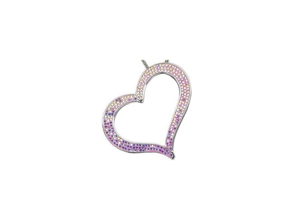 Swarovski Elements Přívěsek na krk heart-srdce parts 55mm / rose ab+light rose ab