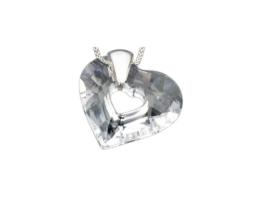 Swarovski Elements Přívěsek na krk - srdce I miss you - 35mm / crystal