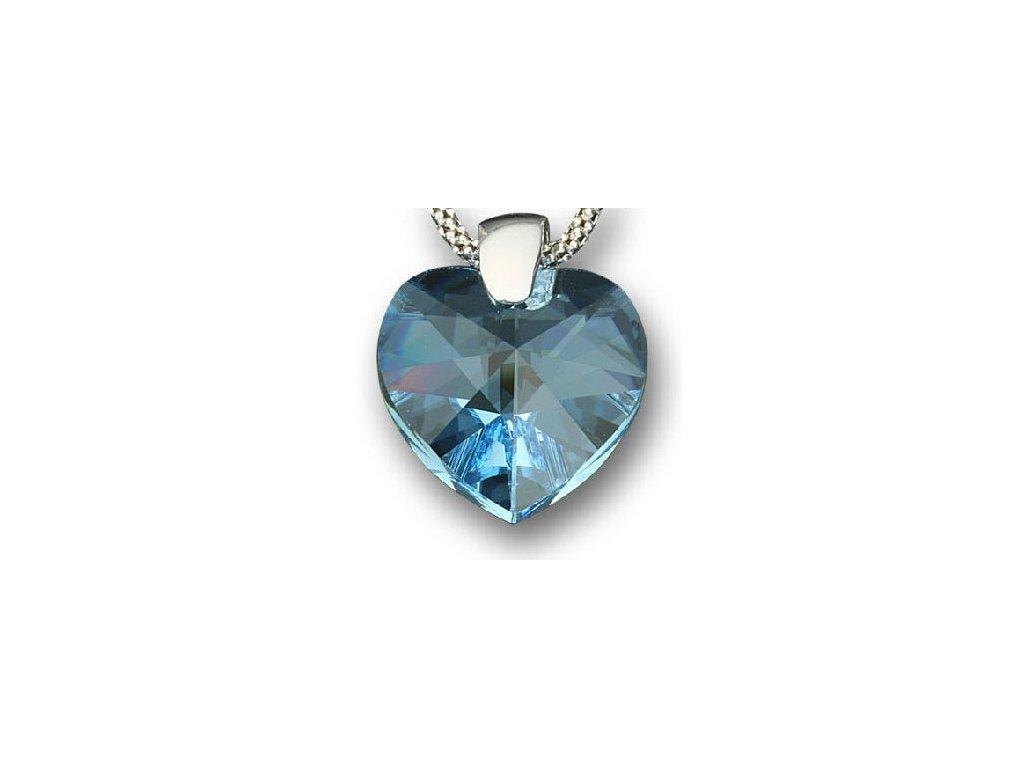 Swarovski Elements Přívěsek na krk - srdce 18mm / aquamarine