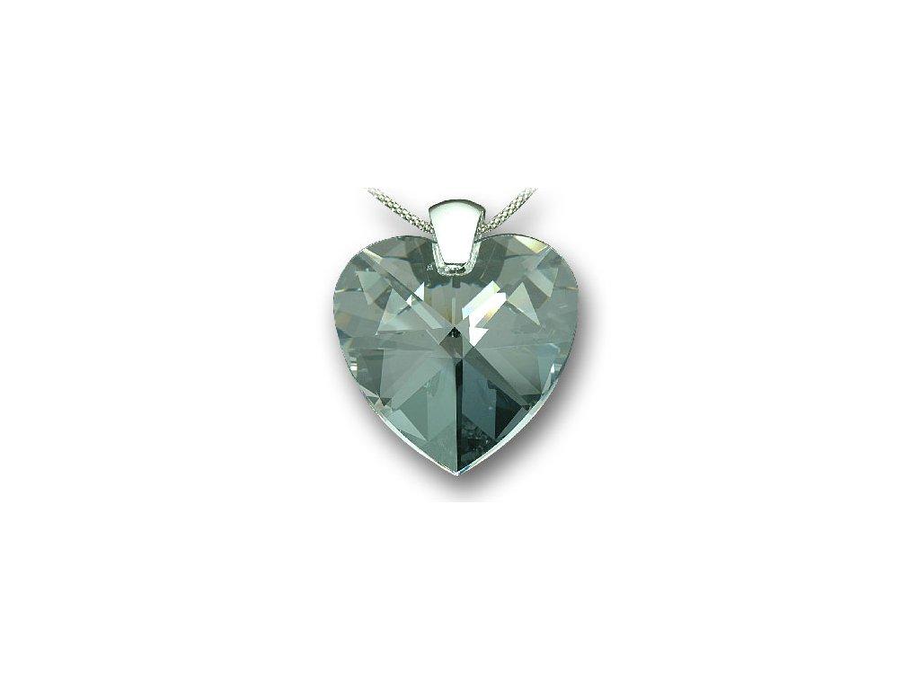 Swarovski Elements Přívěsek na krk - srdce 40mm / crystal