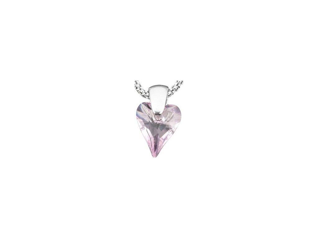 Swarovski Elements Přívěsek na krk - srdce 12mm / rosaline