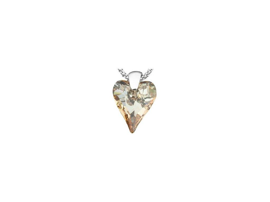 Swarovski Elements Přívěsek na krk - srdce 17mm / golden shadow