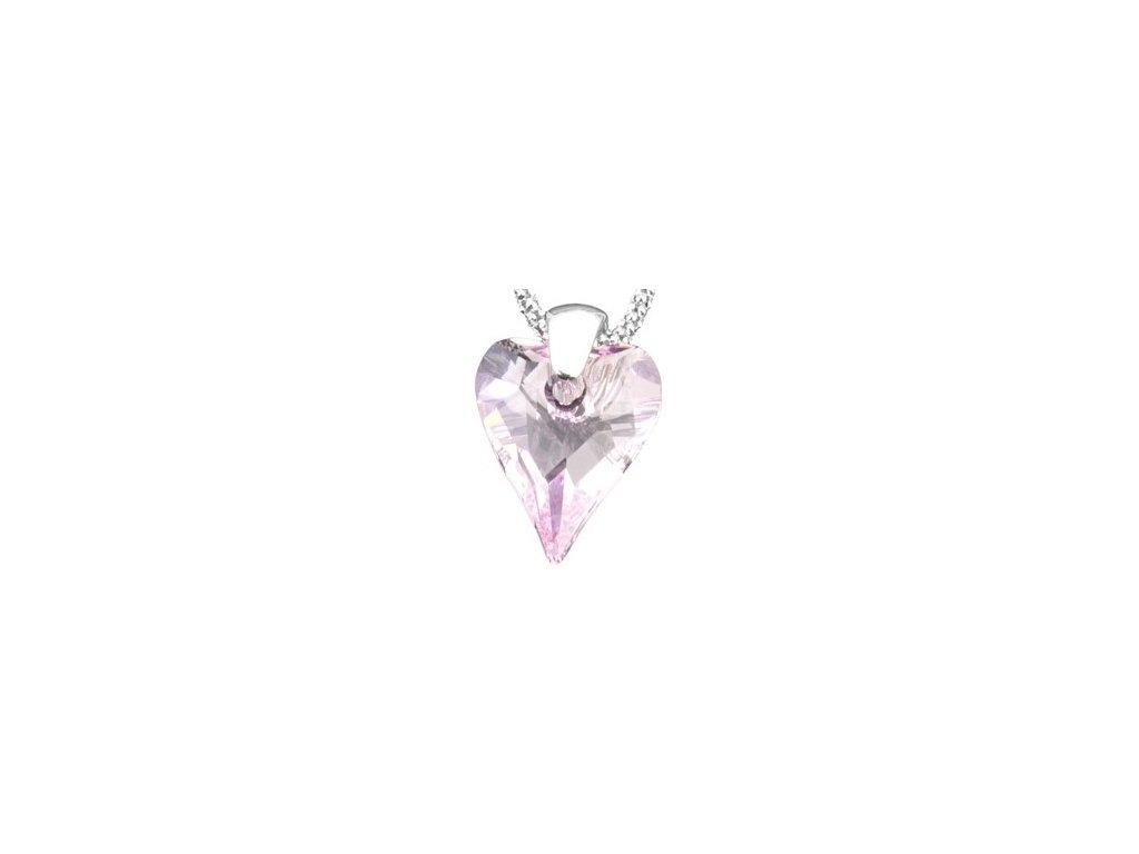 Swarovski Elements Přívěsek na krk - srdce 17mm / rosaline
