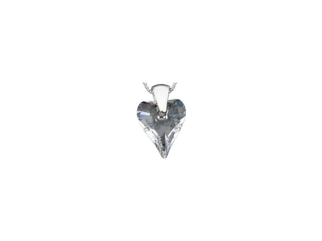 Swarovski Elements Přívěsek na krk - srdce 27mm / crystal