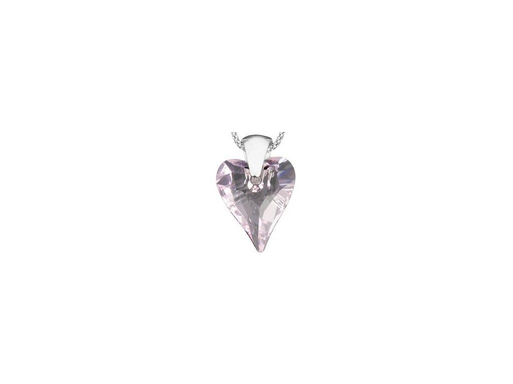Swarovski Elements Přívěsek na krk - srdce 27mm / rosaline