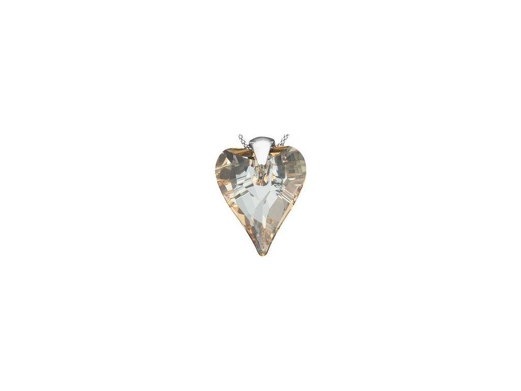 Swarovski Elements Přívěsek na krk - srdce 37mm / golden shadow