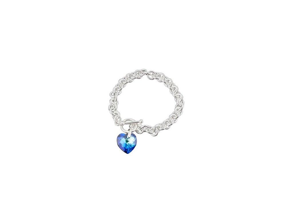 Swarovski Elements  - Stříbrný náramek s přívěskem heart / bermuda blue, 18mm