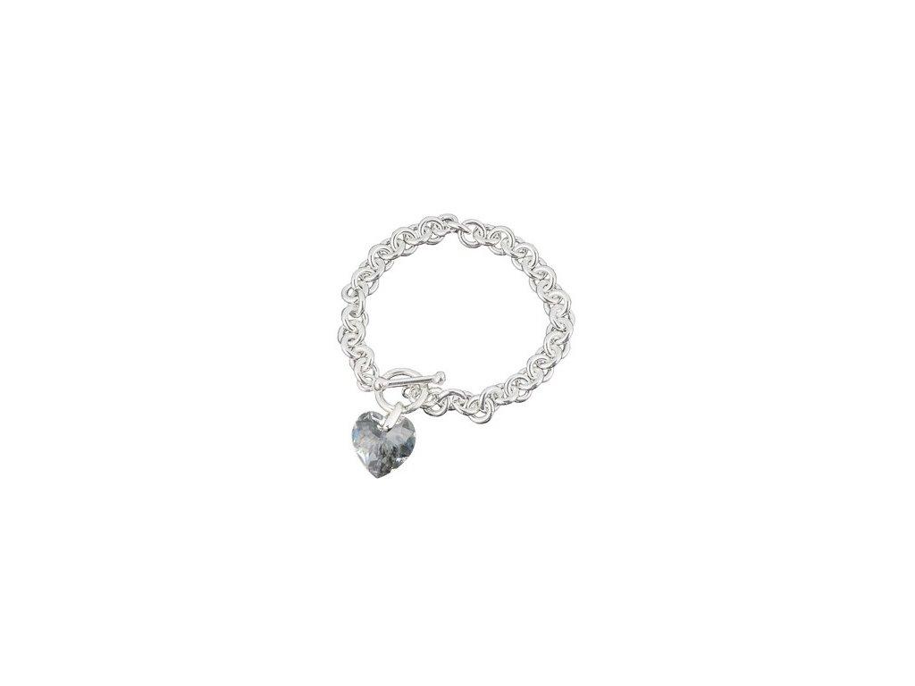 Swarovski Elements - Stříbrný náramek s přívěskem heart / crystal, 18mm