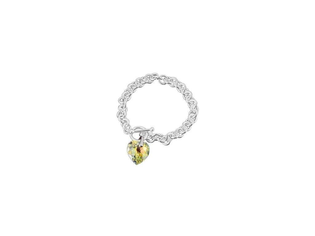 Swarovski Elements - Stříbrný náramek s přívěskem heart / crystal ab, 18mm