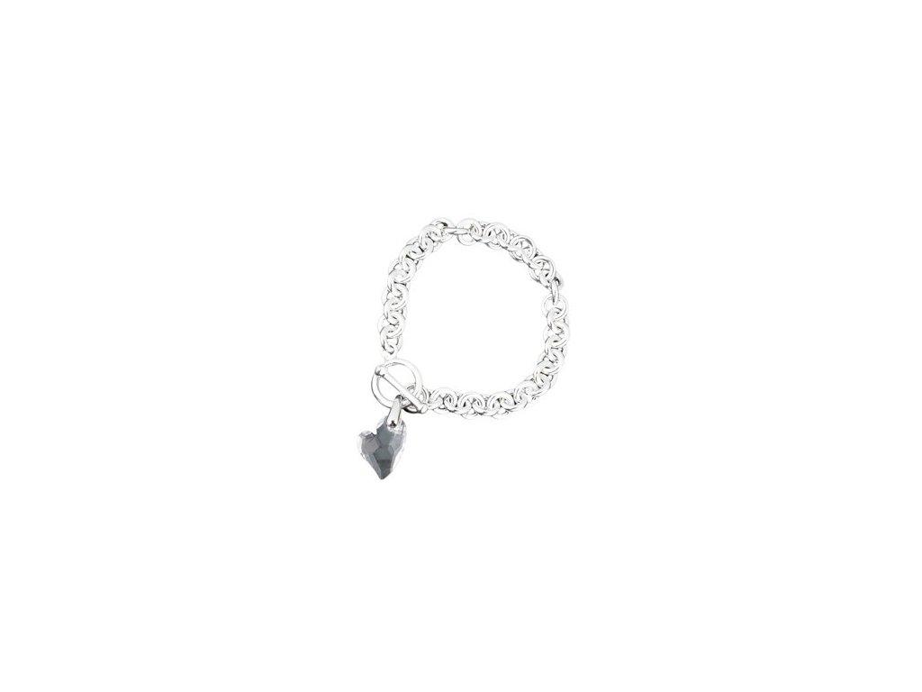 Swarovski Elements - Stříbrný náramek s přívěskem heart devoted 2u / crystal, 18mm