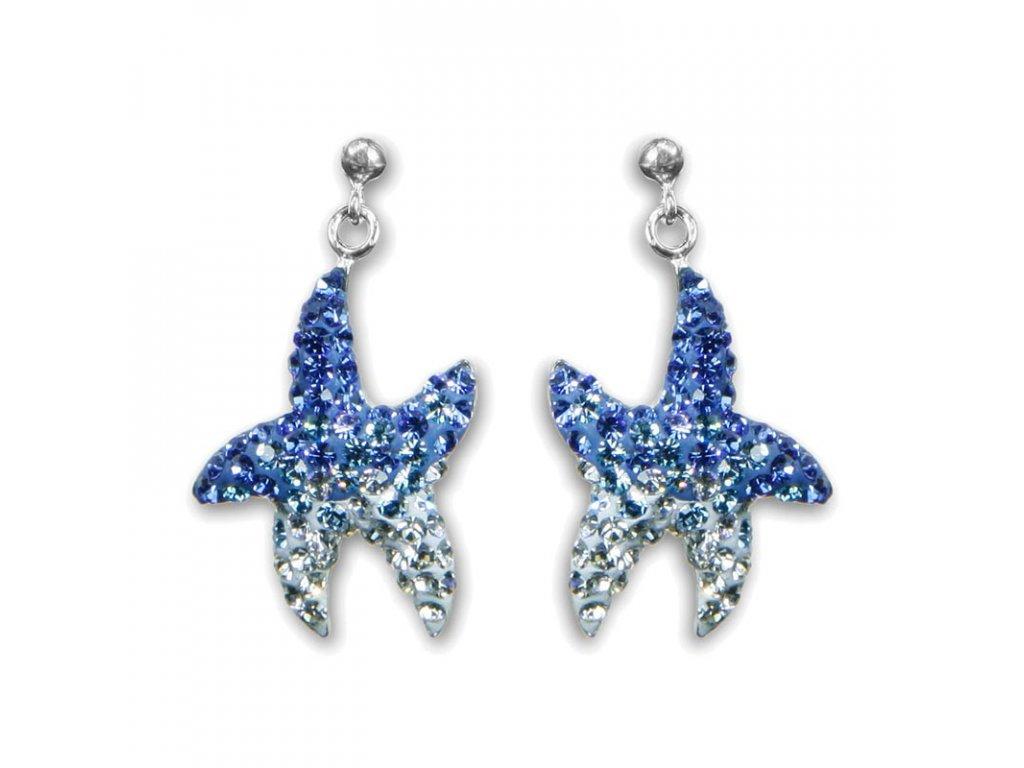 modré náušnice Swarowski elements