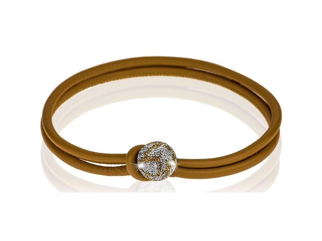 Hnědý kožený náhrdelník Ball mix parts 25mm - crystal, topaz Swarowski Elements