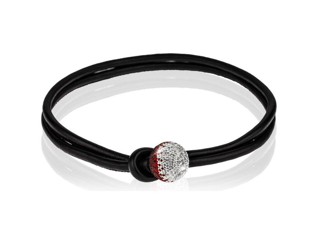 Černý kožený náhrdelník Ball mix parts - crystal ab, siam - Swarowski Elements
