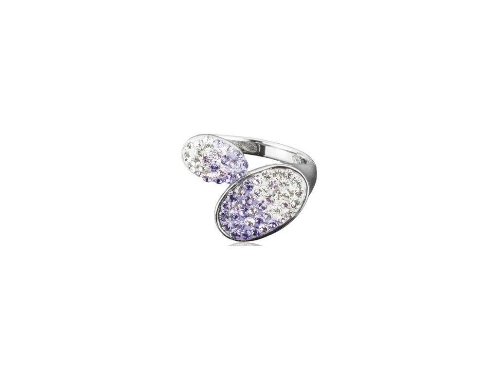 Prsten Swarovski Elements Lila parts - tanzanit, violet, crystal