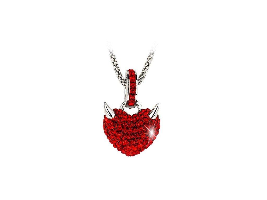 Swarovski Elements Přívěsek na krk - devils heart 16mm , light siam