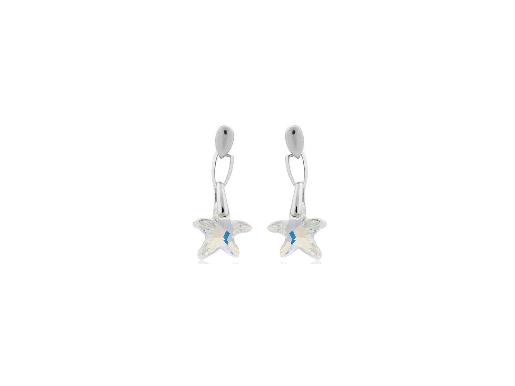Visací náušnice Swarowski Elements - Star fish 16mm - crystal ab
