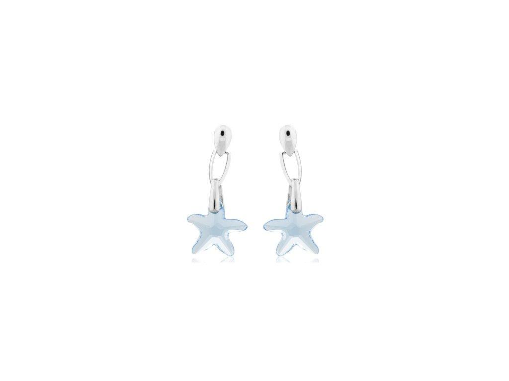Visací náušnice Swarowski Elements - Star fish 16mm - aquamarine