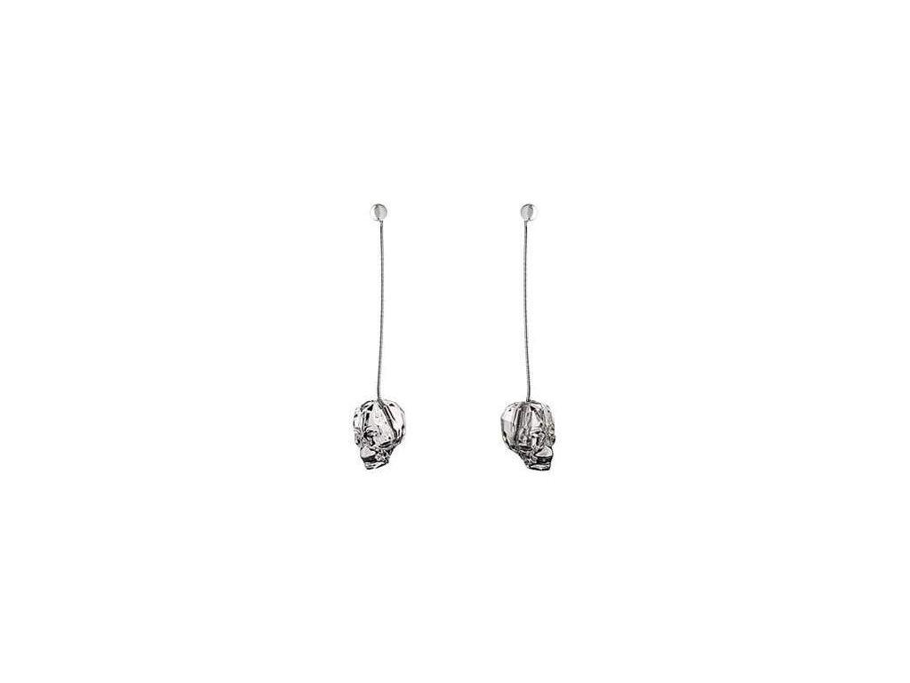 Visací náušnice Swarowski Elements - Skull 13mm - crystal