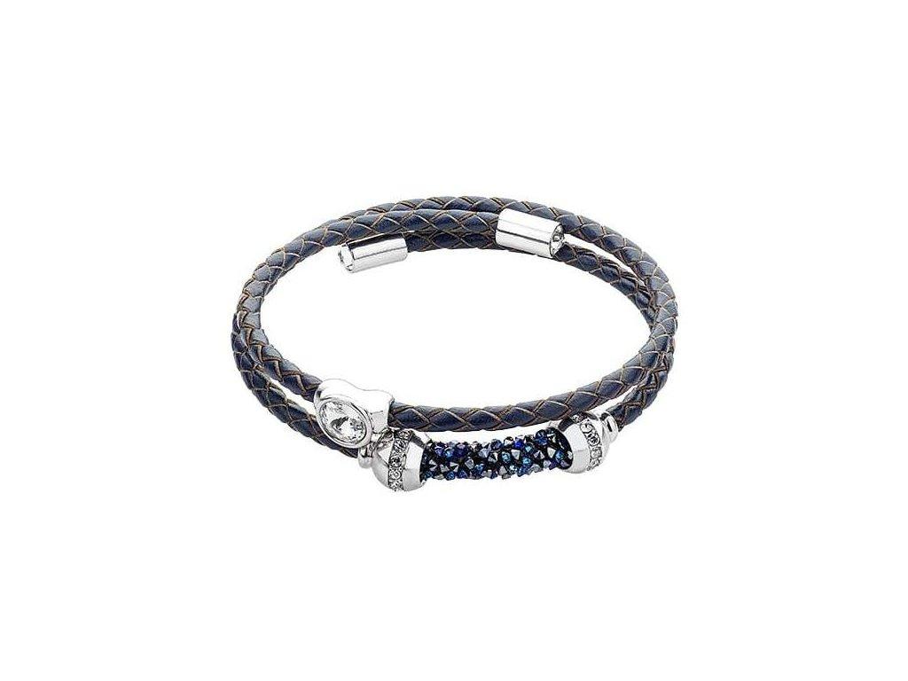 Kožený náramek - Swarowski Elements, modrý 1044092926021337088 n