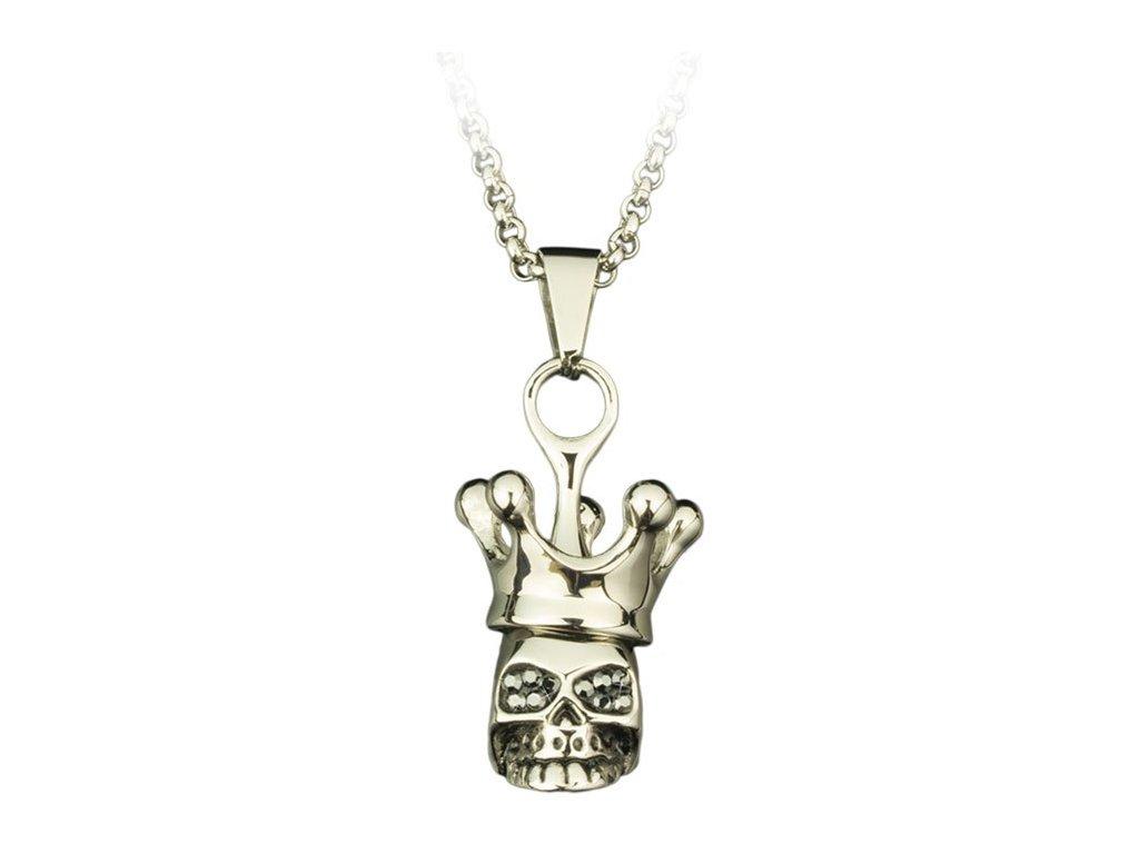 Přívěsek na krk Skull with crown - Lebka s řetízkem