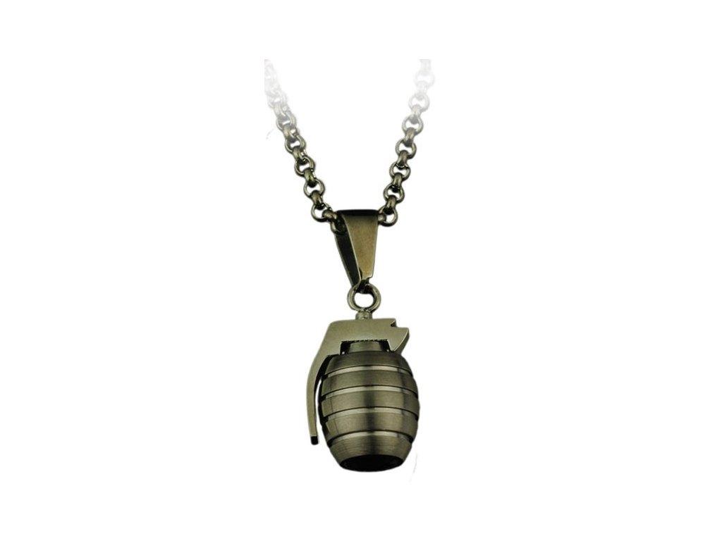 Přívěsek na krk Bomb s řetízkem - chirurgická ocel, černá, 3cm