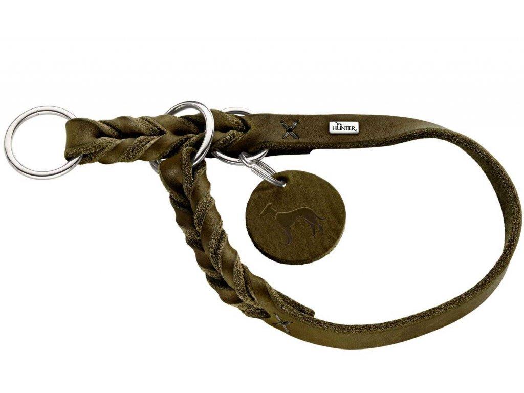 Polostahovací obojek pro psa Hunter Solid Education- olivový, kůže