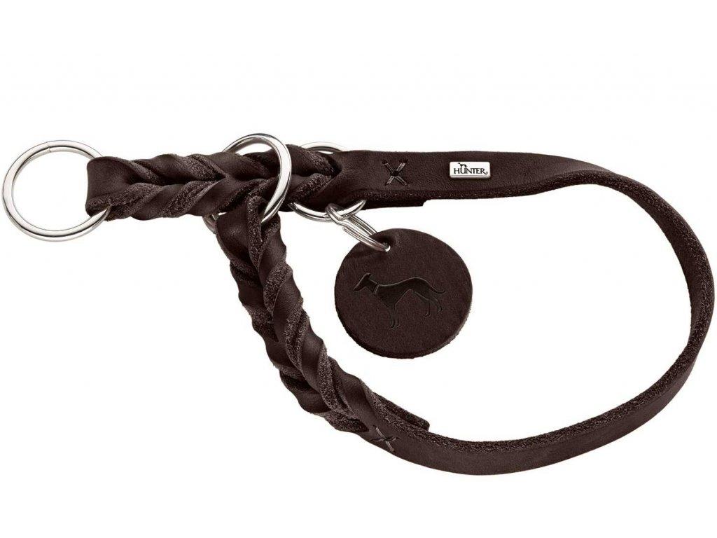 Polostahovací obojek pro psa Hunter Solid Education - tmavě hnědý, kůže