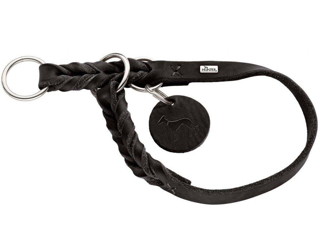 Polostahovací obojek pro psa Hunter Solid Education - černý, kůže