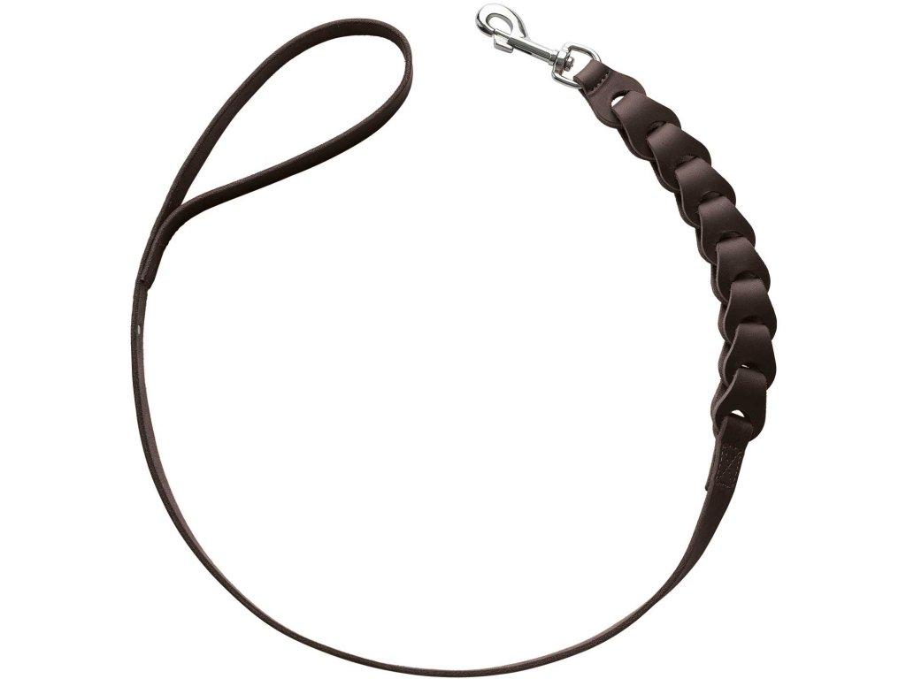 Kožené vodítko pro psa Hunter Solid Education Chain - tmavě hnědá
