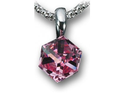 Swarovski Elements Přívěsek na krk - Cube 6mm / light rose