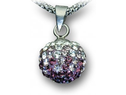 Swarovski Elements Přívěsek na krk - kulička 10mm / amethyst+light amethyst