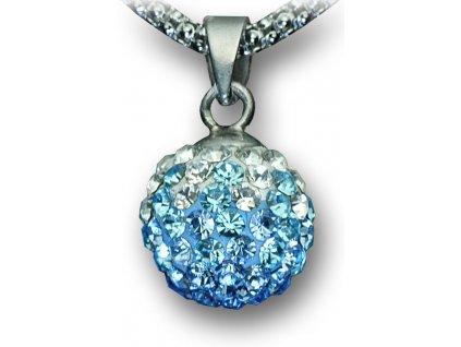 Swarovski Elements Přívěsek na krk - kulička 10mm / sapphire+light sapphire