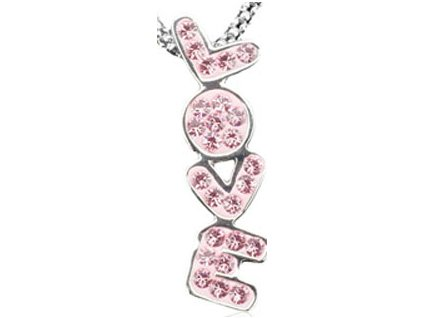 Swarovski Elements - Přívěsek na krk s řetízkem Love parts 25x6mm / light rose