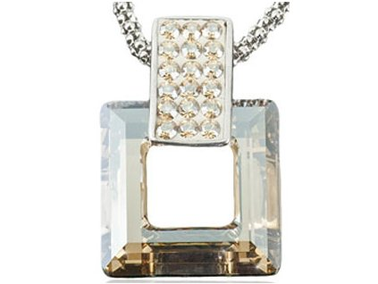 Swarovski Elements Přívěsek na krk s řetízkem Rectangel + quad 20mm / crystal golden shadow