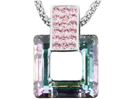 Swarovski Elements Přívěsek na krk s řetízkem Rectangel + quad 20mm / vitrail light rose