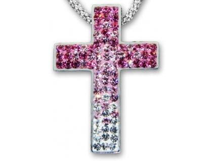 Swarovski Elements Přívěsek na krk křížek s řetízkem - cross parts 29mm / mix crystal+rose+light rose