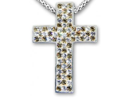 Swarovski Elements Přívěsek na krk křížek s řetízkem - cross parts 29mm / mix crystal+golden shadow